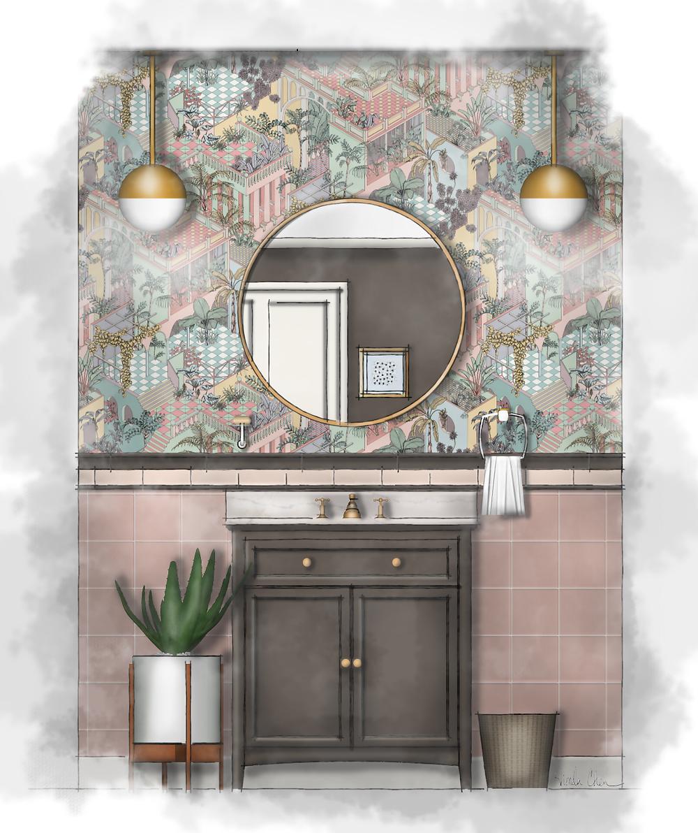 Retro 50's Bathroom Watercolor