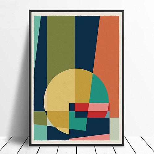 Mid Century Modern Geometric Retro Minimalist Art Poster Wall Decor Art Print