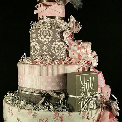 4 Tier Damask Diaper Cake