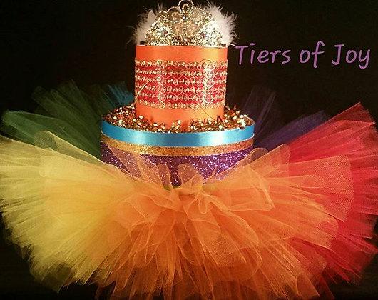 2 Tier Rainbow Color Diaper Cake