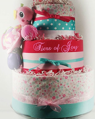3 Tier Pink & Mint Power Flower DIAPER CAKE