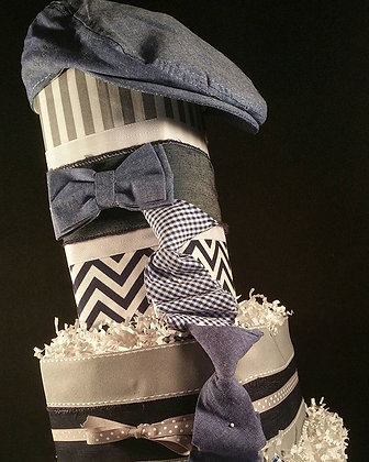 4 Tier Blue Tie TOWEL CAKE