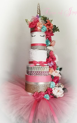 4 Tier Unicorn Money Cake w/pink tutu skirt and flowers