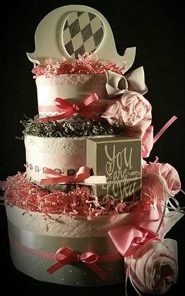 3 Tier Pink & Grey Elephant Diaper Cake