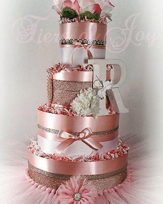 4 Tier Pink Pearled Princess DIAPER CAKE