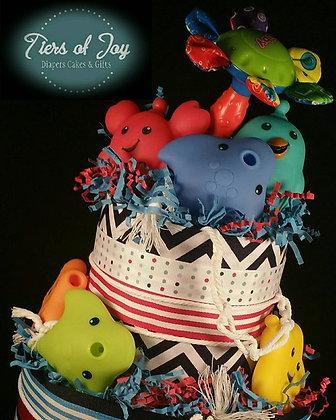 2 Tier Aqua Life Nautical Diaper Cake