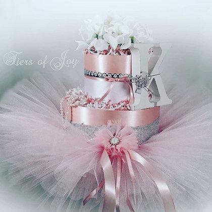 2 Tier Blush Pink & Silver DIAPER CAKE