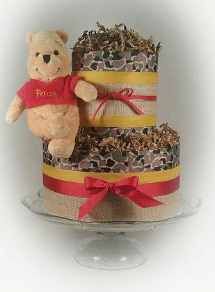 Winnie the Pooh & Camo 2 TIER Diaper Cake