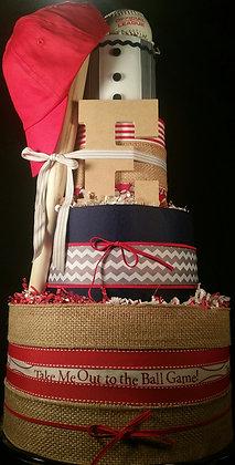 4 Tier Little League Baseball DIAPER CAKE