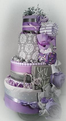 4 Tier Purple & Grey Damask DIAPER CAKE