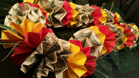 Red and Gold Money Lei