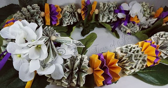 Purple and Gold Money Lei