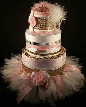 3 Tier Pink & Gold Princess Diaper Cake