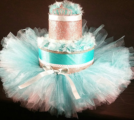 2 Tier Teal & Gold Princess DIAPER CAKE
