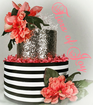 2 Tier Katie Spade Themed DIAPER CAKE