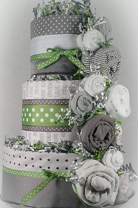 3 Tier Grey & Green Hornet DIAPER CAKE