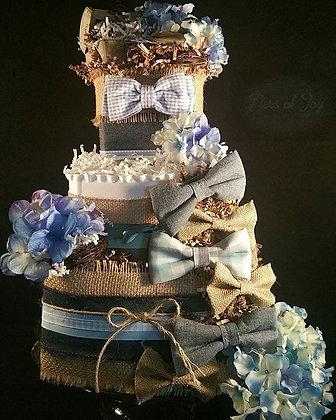 3 Tier Baby Boy Blue Jay DIAPER CAKE
