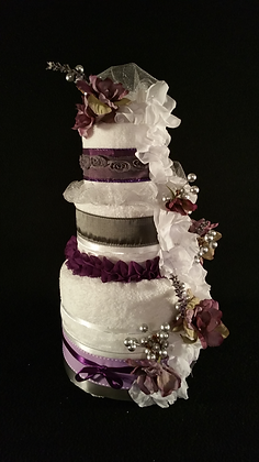 3 Tier White and Plum Towel Cake