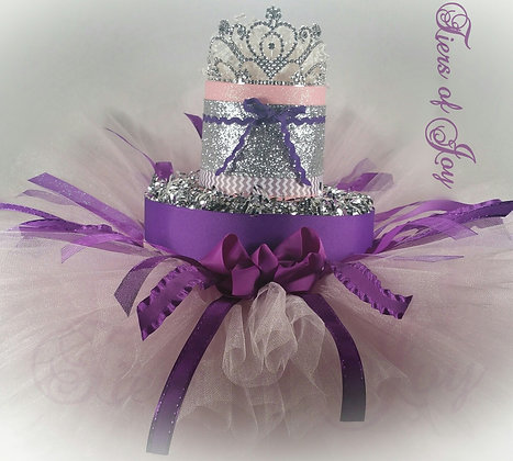2 Tier Silver, Pink and Purple DIAPER CAKE