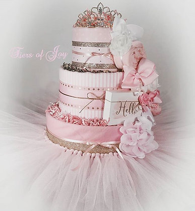 3 Tier Hello Pretty Princess DIAPER CAKE