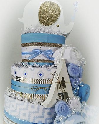 3 Tier Baby Boy Blue DIAPER CAKE w/ Elephant Cake Topper