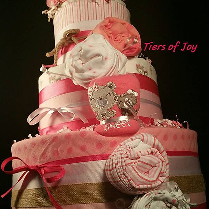3 Tier Pink and White Diaper Cake