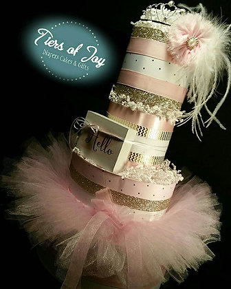 4 Tier Pink and Gold Hello Diaper Cake