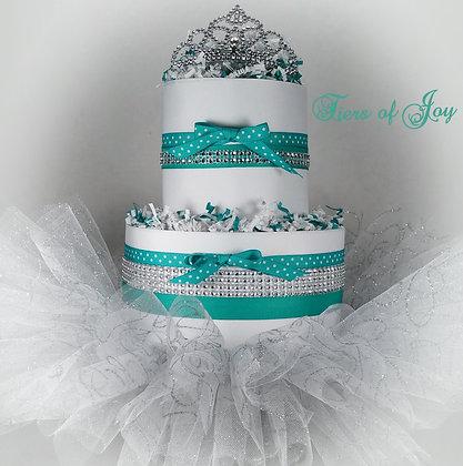 2 Tier Tiffany Theme Mini DIAPER CAKE