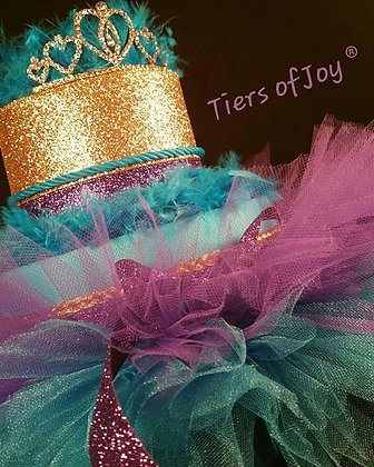 2 Tier Purple and Teal Diaper Cake