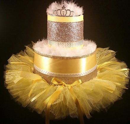 2 Tier Yellow and Gold Diaper Cake
