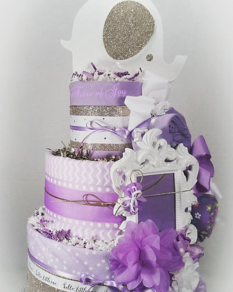 3 Tier Golden Eye & Ear Elephant DIAPER CAKE
