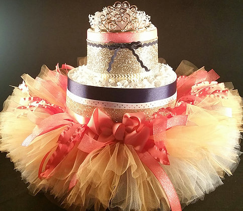 2 Tier Coral & Navy Princess DIAPER CAKE