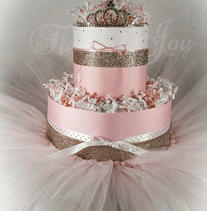 2 Tier Pink & Gold Princess Mini DIAPER CAKE