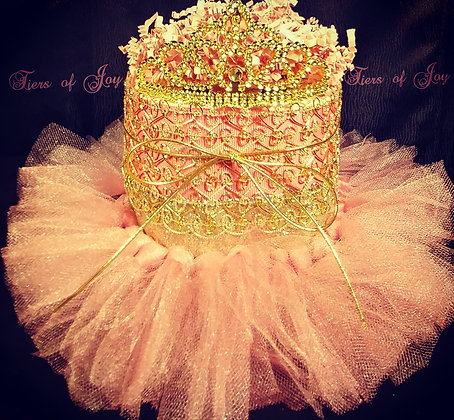 1 Tier Pink and Gold Mini Princess DIAPER CAKE