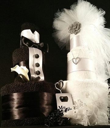3 Tier Black & White Bride and Groom TOWEL CAKE
