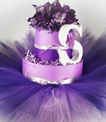 2 Tier Lady Lavender DIAPER CAKE