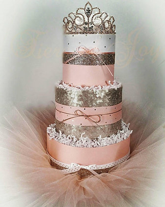 3 Tier Georgia Peach Champagne DIAPER CAKE