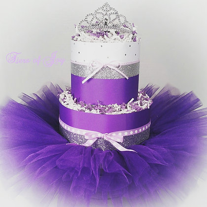 Purple and Silver Mini DIAPER CAKE