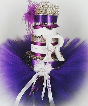 3 Tier Purple & Gold Queen DIAPER CAKE