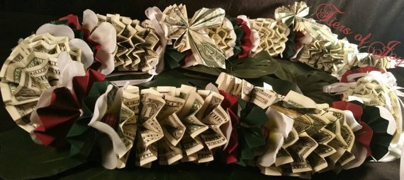 Red and Green Money Lei