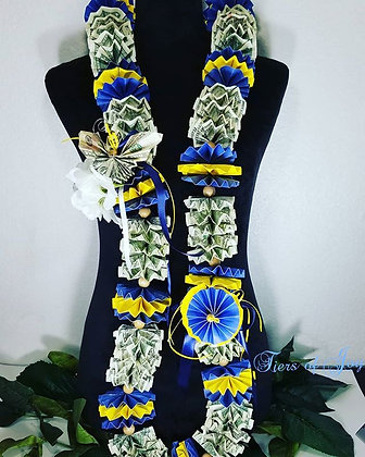 Blue and Gold Money Lei