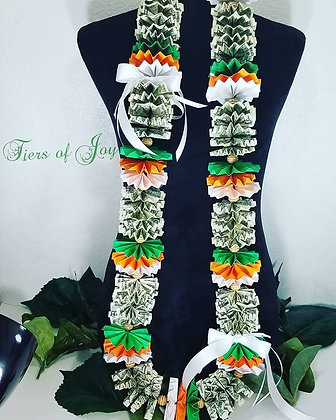 Green and Orange Money Lei