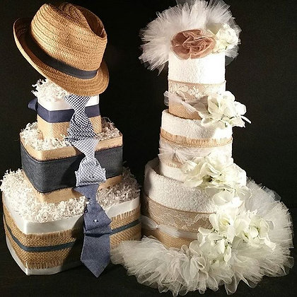 3 Tier Bride and Groom TOWEL CAKE