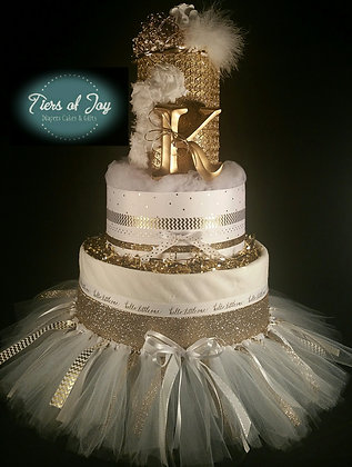 4 Tier White and Gold Princess DIAPER CAKE