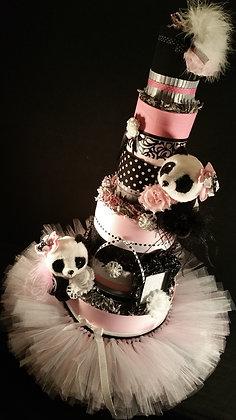 5 Tier Pink Panda DIAPER CAKE