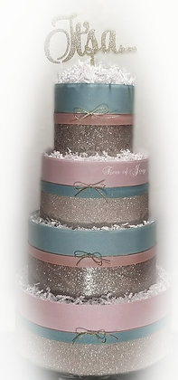 4 Tier Pink & Blue Gender Neutral Diaper Cake