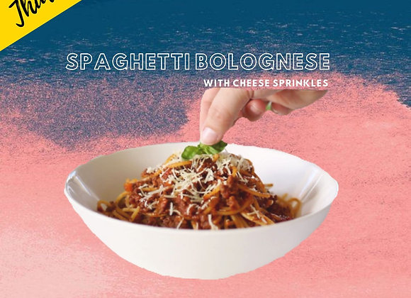 Spaghetti Bolognese with Cheese Sprinkles