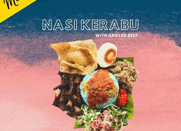 Nasi Kerabu with Grilled Beef