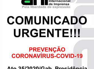 COMUNICADO: PREVENÇÃO CORONAVÍRUS-COVID-19