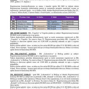 ODLUKE Registracione komisije 13. Dopuna